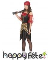 Costume de femme pirate avec corset noir et doré, image 1