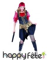 Costume de femme pirate avec corset noir et doré, image 3