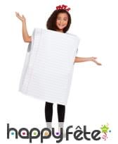 Costume de feuille de papier lignée pour enfant, image 1