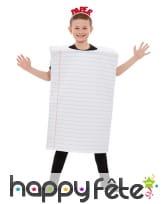 Costume de feuille de papier lignée pour enfant