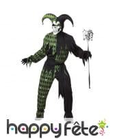 Costume de fou du roi squelette noir et vert
