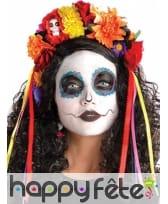Couronne de fleurs Dia de los Muertos colorée