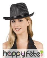 Chapeau de gangster rayé blanc et noir