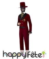 Costume de Groom rouge Le jour des morts, homme