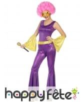 Combinaison disco holographique violet or, femme