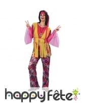Costume de hippie rose pour femme