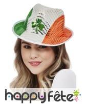 Chapeau drapeau irlandais à sequins, St Patrick