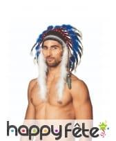 Coiffe d'indien avec perles et plumes colorées