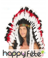 Coiffe d'indien deluxe blanc noir rouge, adulte