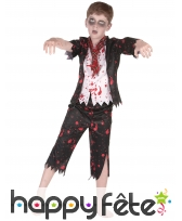 Costume de jeune écolier zombie noir et blanc
