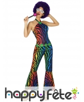 Combinaison disco léopard multicolore