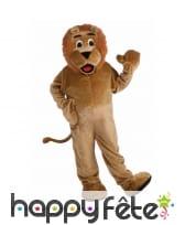 Costume de lion mascotte version luxe