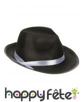 Chapeau de mafieux noir avec bande blanche, adulte, image 1