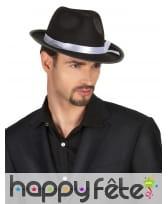 Chapeau de mafieux noir avec bande blanche, adulte