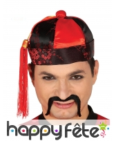 Chapeau de mandarin chinois, rouge et noir