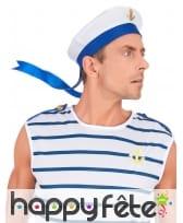 Chapeau de marin blanc et bleu, image 2