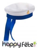 Chapeau de marin blanc et bleu