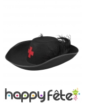 Chapeau de mousquetaire noir avec plumes, adulte, image 1