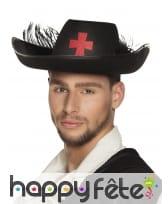 Chapeau de mousquetaire noir avec plumes, adulte