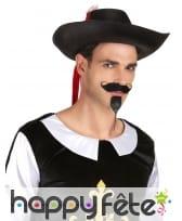 Chapeau de mousquetaire noir et rouge pour adulte, image 1