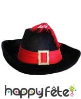 Chapeau de mousquetaire noir et rouge pour adulte, image 2