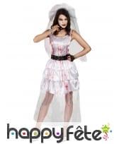 Costume de mariée zombie taché de sang
