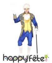 Costume de marquis pour homme, bleu et doré