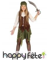 Costume de Miss pirate rayé marron et noir fille