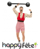 Costume de monsieur muscles avec moustache, adulte