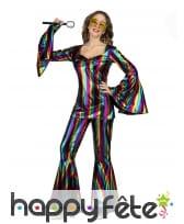 Costume disco multicolore pour femme