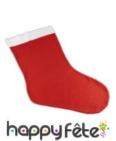 Chaussette de Noël rouge unie, décorative