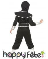 Combinaison de ninja noire argentée pour enfant, image 2