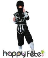 Combinaison de ninja noire argentée pour enfant, image 3