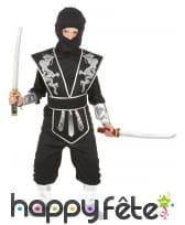 Combinaison de ninja noire argentée pour enfant