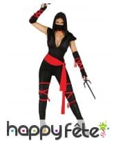 Combinaison de ninja pour femme, noir et rouge