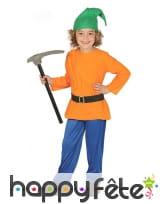 Costume de nain orange vert et bleu pour enfant
