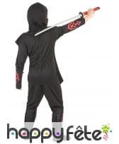 Costume de ninja noir et rouge avec tête de mort, image 3