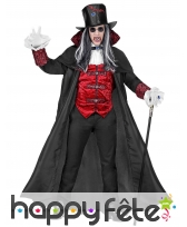 Costume de noble vampire rouge et noir, adulte
