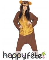 Combinaison d'ours brun ocre et marron pour adulte