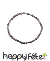 Collier de perles crânes gris, 54 cm