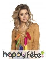 Collier de plumes colorées pour femme
