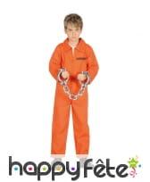 Combinaison de prisonnier orange pour garçon