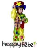 Costume de petit clown multicolore avec chapeau