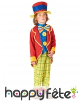 Costume de petit clown rouge et jaune