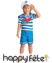 Costume de petit marin bleu et blanc avec short
