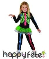 Costume de petit squelette coloré pour fillette