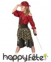 Costume de petite corsaire rouge effet velours, image 1