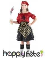 Costume de petite corsaire rouge effet velours, image 3