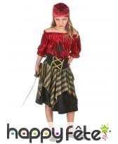 Costume de petite corsaire rouge effet velours