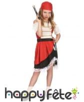 Costume de petite piratesse avec dentelle blanche